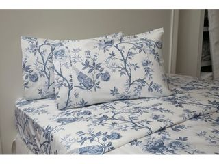 Josephine Sheet Set White Blue Full