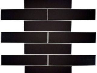 SomerTile 1 75x7 75 inch Victorian Soho Subway Matte Black Porcelain Floor and Wall Tile  10 tiles 1 sqft