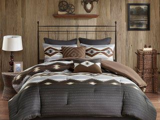 Woolrich Bitter Creek Grey  Brown Oversized Comforter Set  Retail 146 49