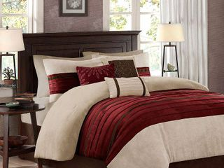 Red Dakota Microsuede Pieced Comforter Set  King  7pcs