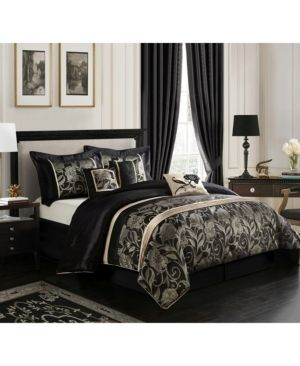 Grand Avenue Brie Silver  Black 7 piece Comforter Set  Retail 109 99