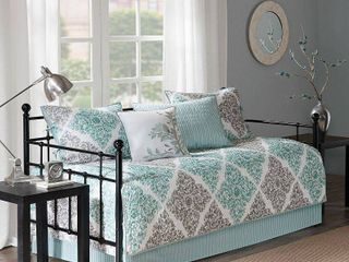 Madison Park Montecito Aqua Printed 6 piece Day Bed Cover Set