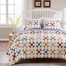 Porch   Den Koll Parkway Geometric Pattern Cotton Rich Reversible Oversized Quilt Set  Retail 97 99