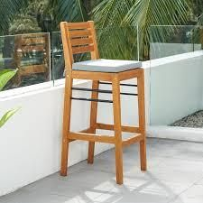 Gloucester Contemporary Patio Wood Bar Chair