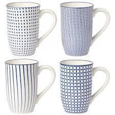 4 Piece Tall Coffee Mug Set Blue