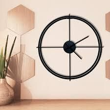 Walplus Minimalist 50cm Black Iron Wall Clock Simple Home Decoration  Retail 78 48