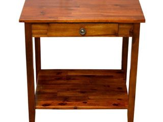Porch   Den Holly Hill Solid Acacia 1 drawer End Table
