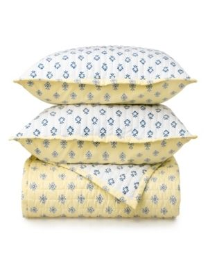 Martha Stewart Naomi Block Print 3 Piece Quilt Set  Retail 78 98
