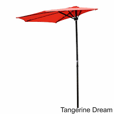 International Caravan St  Kitts 9 foot Crank Wall Hugger Patio Umbrella tangerine dream