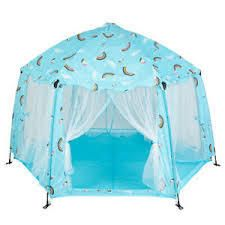 Printed Pongee Automatic POP UP Play Tent Toy with Tote Bag Blue
