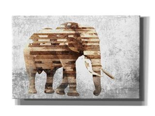 Epic Graffiti  Rustic Brown Elephant  by Irena Orlov  Giclee Canvas Wall Art  18 x12  Retail 117 49