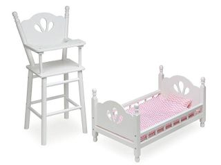 Badger Basket English Country Doll High Chair and Bed Set   White Pink