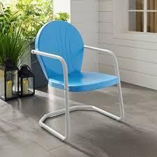 Howard Bay Metal Chair In Sky Blue Finish by Havenside Home blue