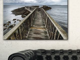 Wooden Pier on North Irish Coastline   Sea Bridge Canvas Wall Artwork