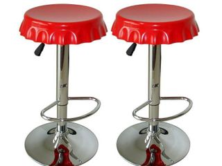 Amerihome BS107SET Soda Cap Bar Stool Set  Red  2 Piece