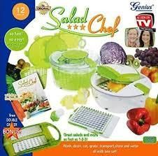 salad cutting system 7 pc green
