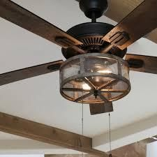 Carbon loft Shettler 5 blade Woodgrain Caged Farmhouse lED Ceiling Fan   52 l x 52 W x 19 H  Retail 213 49
