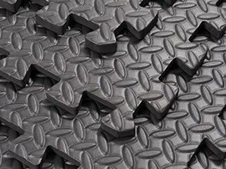 Soozier Exercise Interlocking Protective Flooring with Shock Absorbing Material  24  x 24  x 0 4  Tiles  Black Diamond 1 pkg