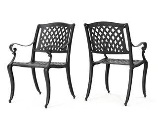 Outdoor Cayman Cast Aluminum Outdoor Chair  Set of 2  by Christopher Knight Home  Retail 269 49