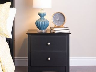Broadway Black 2 drawer and Open Cubby Nightstand  Retail 125 99