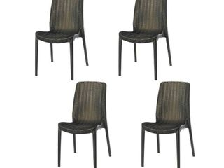 Set of Four Rue Stackable Rattan Dinning Chairs  Retail 324 99