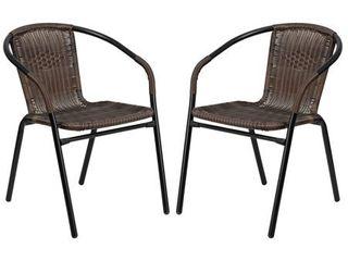 Zata Dark Brown Rattan Indoor and Outdoor Restaurant Stack Chair 1 only Retail 119 99
