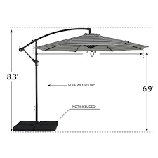 Weller 10  Cantilever Hanging Patio Umbrella  Base Not Included  Retail 139 99 black and white stripe