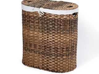 Mocha Hand Woven Oval Double laundry Hamper with Removable liner