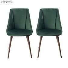 Carson Carrington Falkskog Fabric Side Chair  Set of 2  Retail 167 49 green and walnut