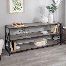 Carbon loft 60 inch Hattie X frame Grey Wash Bookshelf Console  Retail 196 49