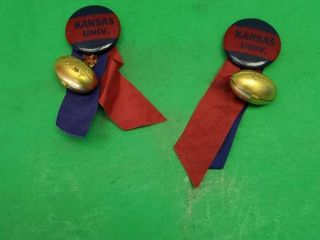 KANSAS UNIVERSITY SHIRT PINS W RIBBON AND BRASS FOOTBAll