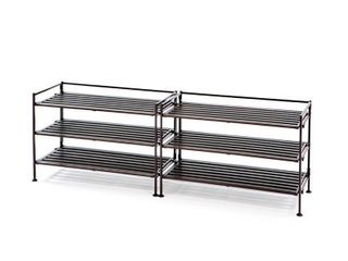 3 Tier Resin Slat Utility Shoe Rack  Espresso  2 Pack  by Seville Classics
