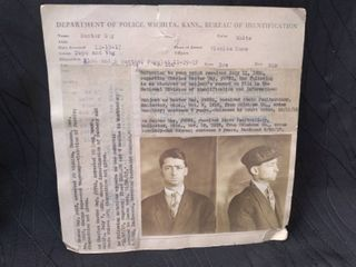 Antique Wichita PD 1917 Arrest ID Card