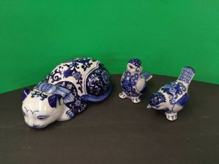 Blue   White Pottery Cat   Birds