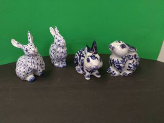 Blue   White Pottery Bunny lot