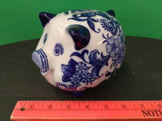 Blue   White Pottery Pig Bank
