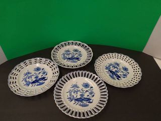 Blue   White Pottery Plates Set
