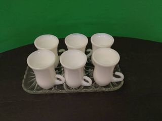 White Glass Mini Mugs Set