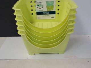 6 Neon Yellow Stacking Bins 15x11 5x8 5in
