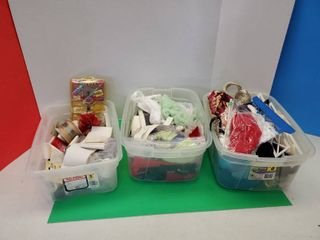 3 Plastic Tubs W Sewing Goodies And More