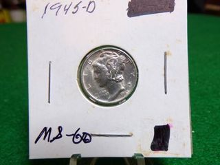 1945 D MERCURY DIME   MS60