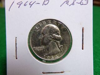 1964 D MS63 WASHINGTON QUARTERS