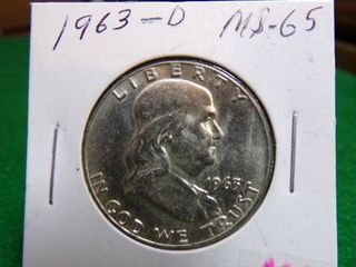 1963 D FRANKlIN HAlF MS65