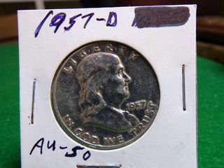 1957 D FRANKlIN HAlF DOllAR AU50