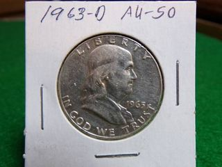 1963 D FRANKlIN HAlF DOllAR AU50