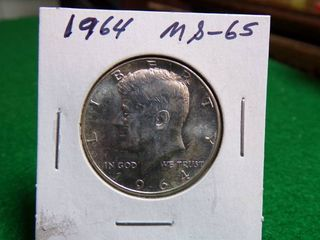 1964 KENNEDY HAlF DOllAR MS65   90  SIlVER