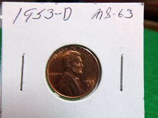 1953 D WHEAT PENNY   MS63