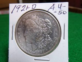 1921 D MORGAN DOllAR AU50
