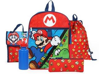 Nintendo Boys Super Mario Backpack Back to School 5 Piece Essentials Set
