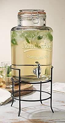Beverage Drink Dispenser Nantucket Durable Glass On Stand 1 5 Gallon With Spigot